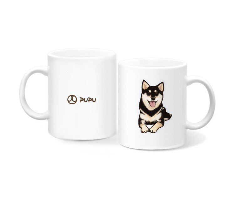 Black Shiba Inu - Kneeling - Original Illustration - Mug - Gift Custom - Flies Planet - Handmade Market