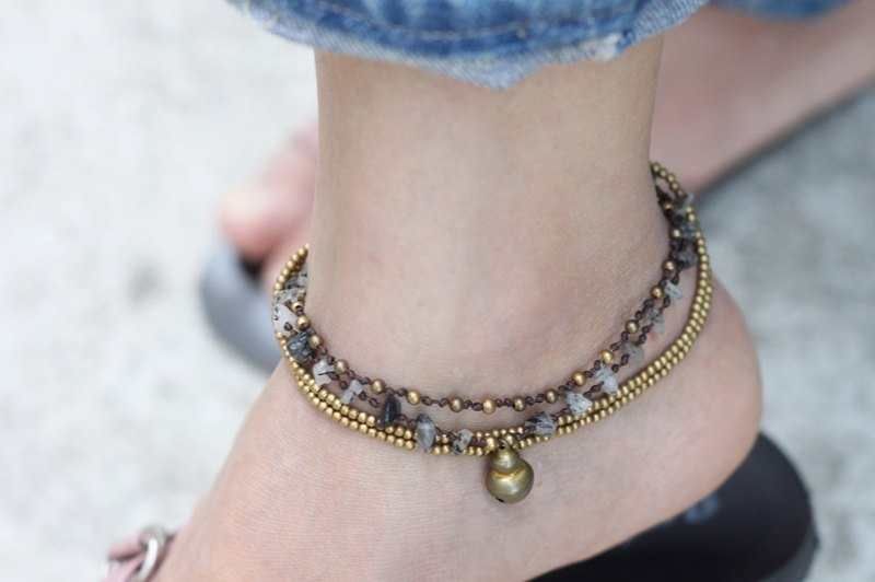 Gray Smoky Quartz Chain Anklets Brass Woven Beaded Layer Braided