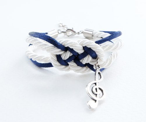 White/Navy blue nautical bracelet with silver music note charm