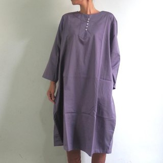 Cocoon One Piece / Gray Purple / Cotton Satin