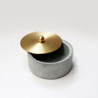 FULL MOON Concrete box with brass lid / Storage / Jewelry Box
