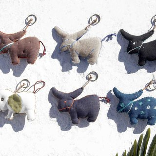 New Year's gift birthday gift Valentine's Day gift exchange gift graduation gift girlfriends gift handmade embroidery cotton blue dye key ring / mansion door wind key ring - forest wind world hand embroidery embroidery Himalayan yak / cute elephant