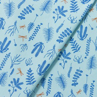 Hand-Printed Cotton Canvas(Wide) - 500g/y / Weeds and Dragonfly / Blue Wave