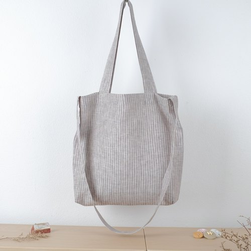 Grey and White Striped Linen Tote Bag