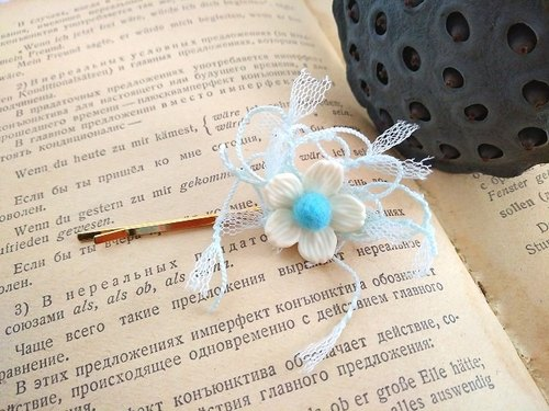 Garohands Pure White Cherry Blossom Felt Ball Lace Ribbon Handle Hairpin G066 Gift Romantic Gentle