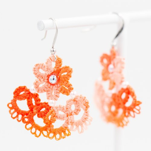 Flower skirt lace earrings - Gradient orange