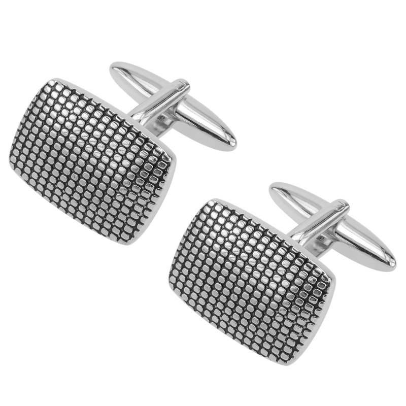 Etched Tread Domed Rectangle Cufflinks