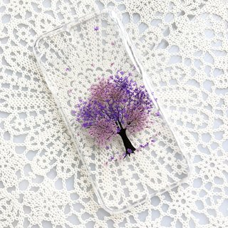 iPhone 7 Handmade Pressed Flowers Case Purple Tree case 010