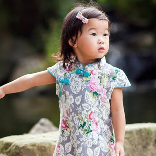 Children's antique cheongsam - autumn section - flower series rose (grey)