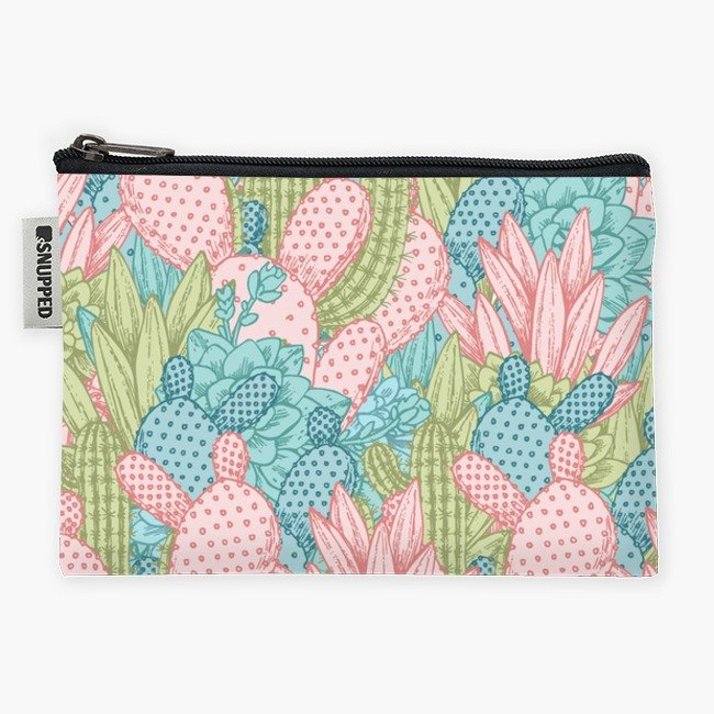 Snupped Zipper - Accessories Pouch - Pastel Cacti Obsession