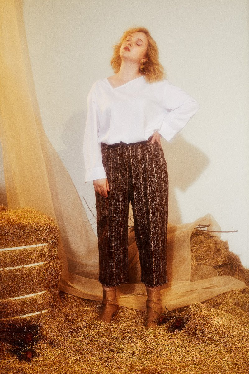 Tweed Straight Wide Crops Pants