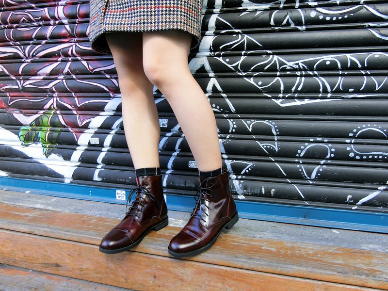 Bandage leather knight boots || dear cocoa wine red || #8151