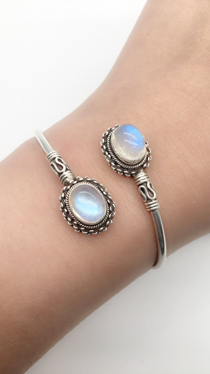 Moonstone 925 sterling silver retro double gem design bracelet Nepal handmade mosaic production