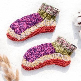 Hand-knitted pure wool knit socks / inner brushed striped socks / wool crocheted stockings / warm wool socks - sweet candy