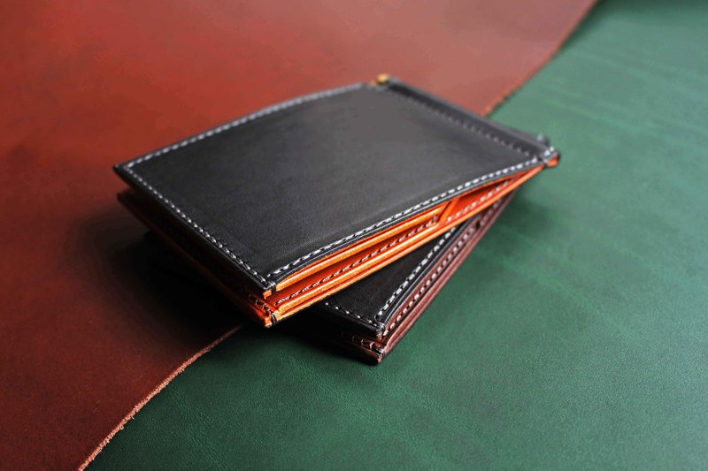 [VW01 banknote clip short clip Money Clip] Italy thin wax vegetable tanned leather multicolor optional