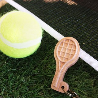 [Sports Series] Tennis Key Ring Tennis // Original Wooden Keyring Pendant Charm