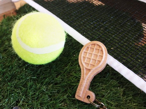 【Sports Series】 Tennis Key Ring tennis // Wooden Key Ring Pendant Charm