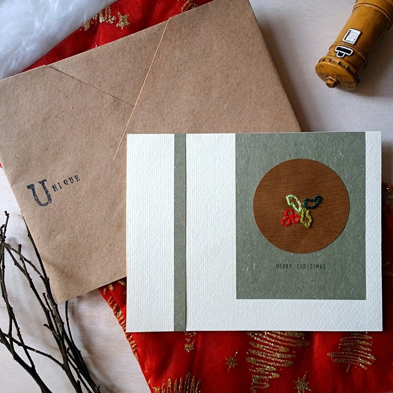 Hand-stitch image Christmas card (Christmas flower) (original)