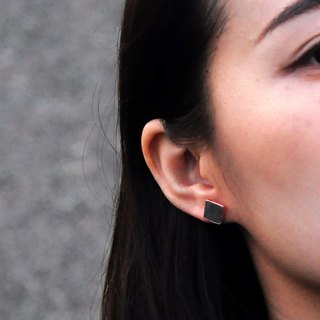 Black Cocnrete Square Earrings (Silver/Rose Gold) | Geometric Series