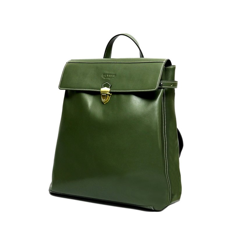 Olive green full leather V-backpack - in