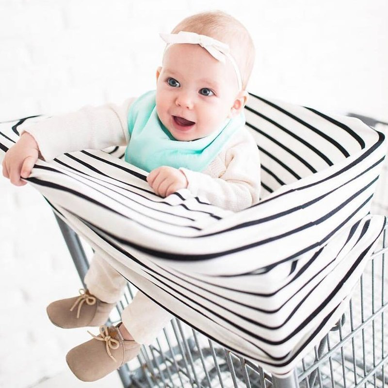 United States Copper Pearl Multifunctional Seat Cover / Breastfeeding towel Black and white pinstripes X000XU7MOF