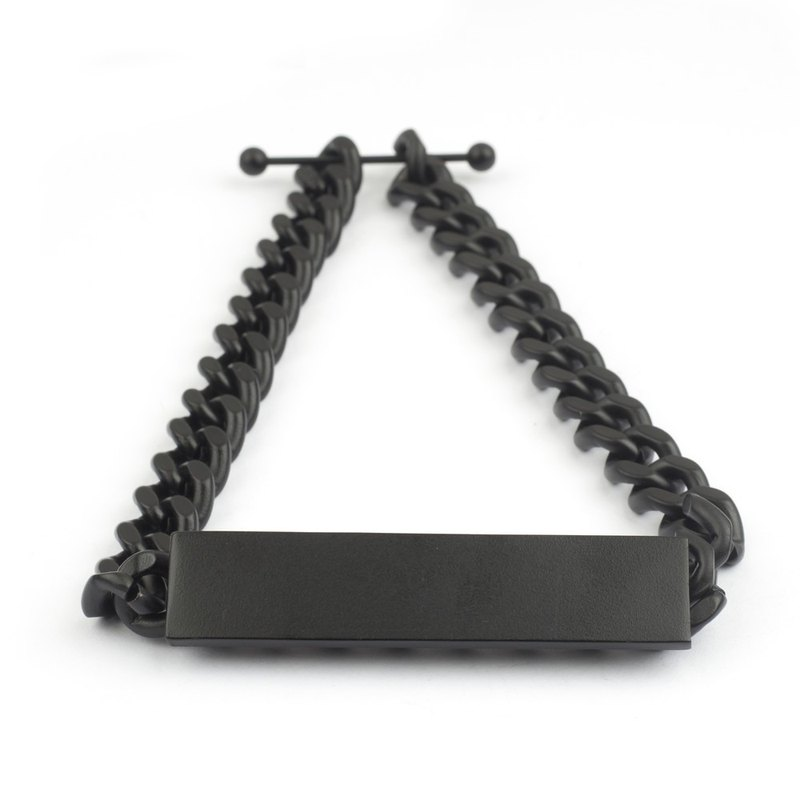 平面長方形項鍊 Flat rectangle Necklace (霧黑)