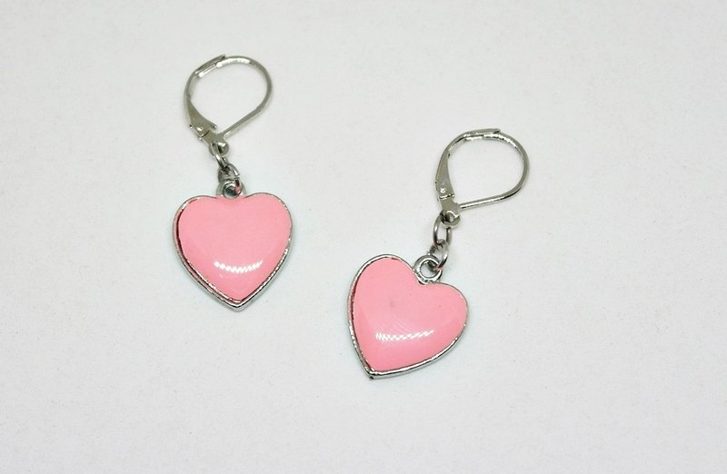 Alloy powder drop Glaze * _ * Heart hook earrings ➪ Limited X1