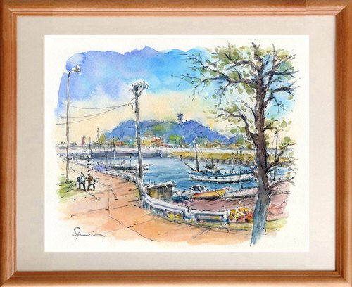 Watercolor painting Kamakura Higoshigoshi fishing port 15