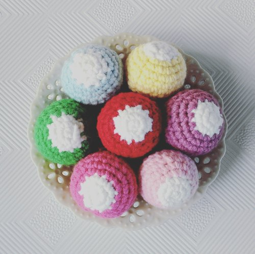 Macaron Pink is a group of 3 - yarn ball hair ring hair accessories