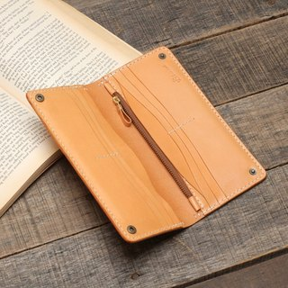 Rustic manual fatliquoring dyed yak leather manual long clip