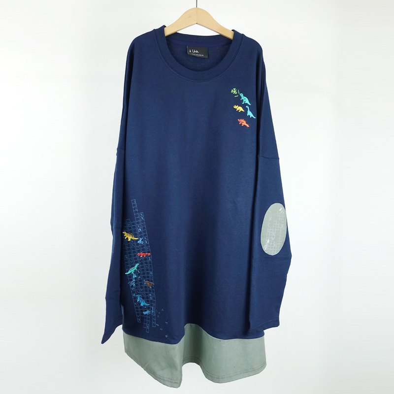 Urb. Dinosaur eraser / long-sleeved patch stitching dress
