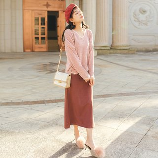 2018 autumn and winter ladies new solid color split fork skirt dress