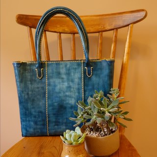 "[KakasunShop] leather TOTE Tote - ""summer"" Summer blue"