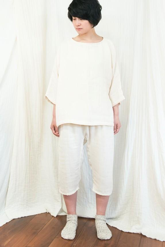 Loose pajamas 7-minute-length set 【creation color】