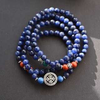 Sodalite + Red Jasper + Tianhe Stone 108 Rosary / Bead Necklace / Multi-ring Bracelet