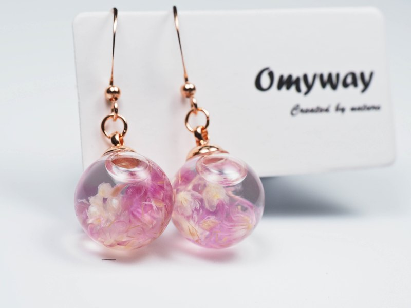 愛家作-OMYWAY日本紫色小菊花浮游玻璃球玫瑰金色耳環耳夾1.4cm