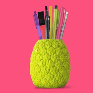 British Mustard Pen Holder - Summer Pineapple (Green)