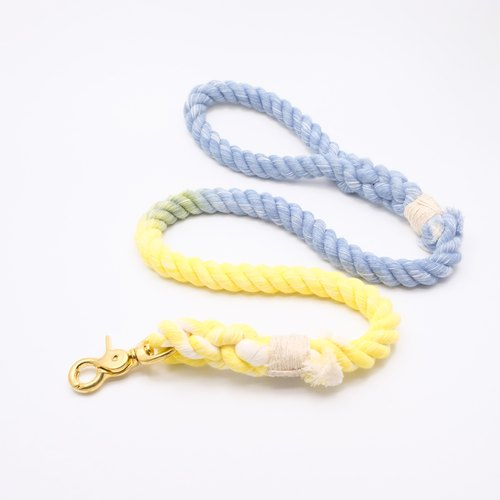 COTTON DOG LEASHES - BLUE/YELLOW