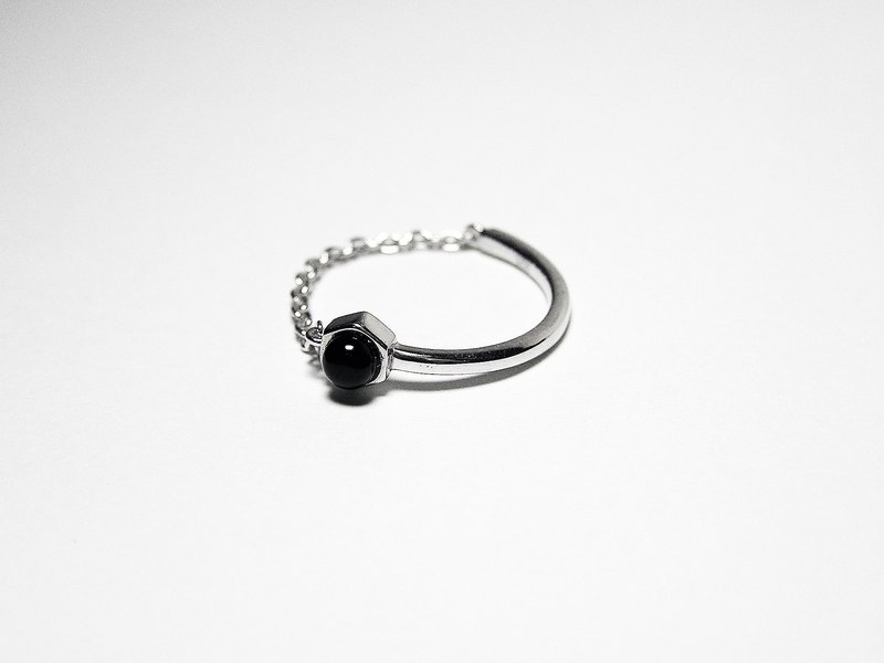 925 Silver 18K white gold CZ Black Onyx Ring
