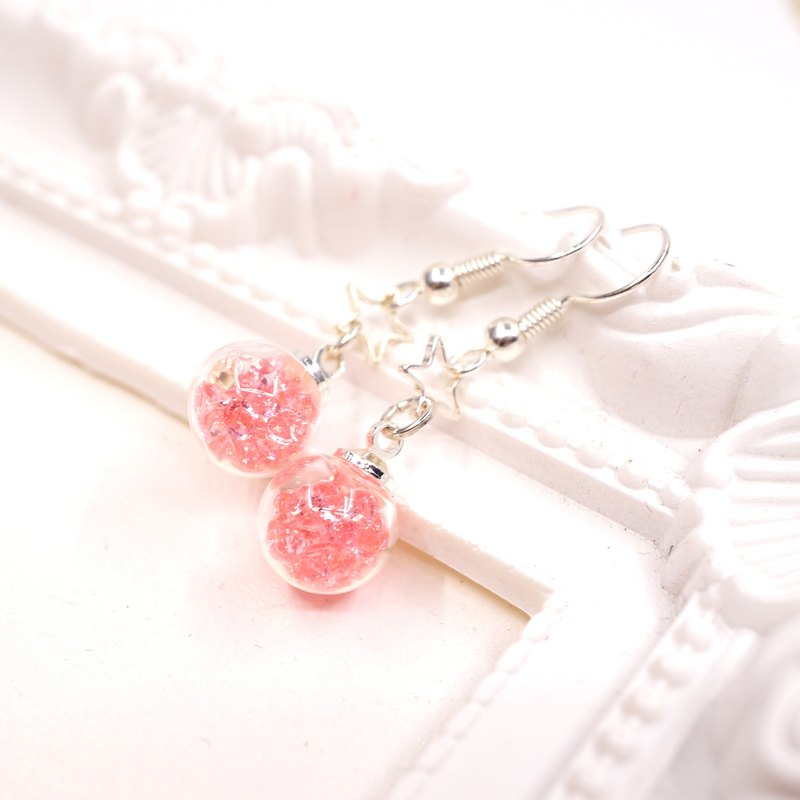 A Handmade pink crystal ball hanging earrings