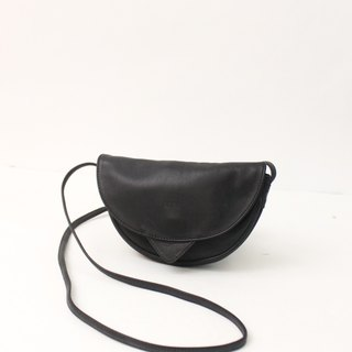 Retro European 80s simple side back out black antique bag European Vintage Bag