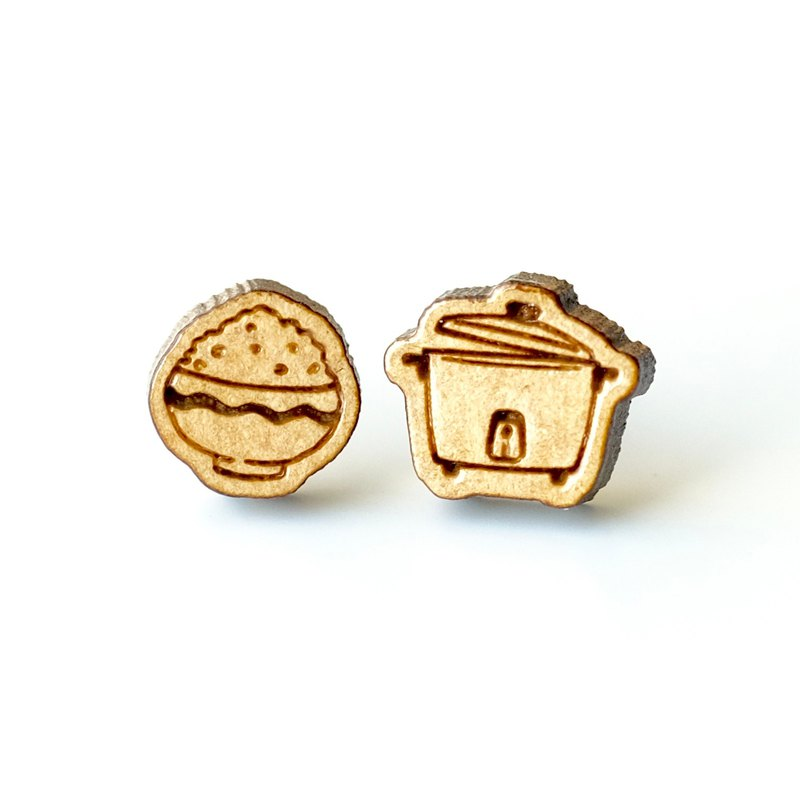 Plain wood earrings-Rice Cooker