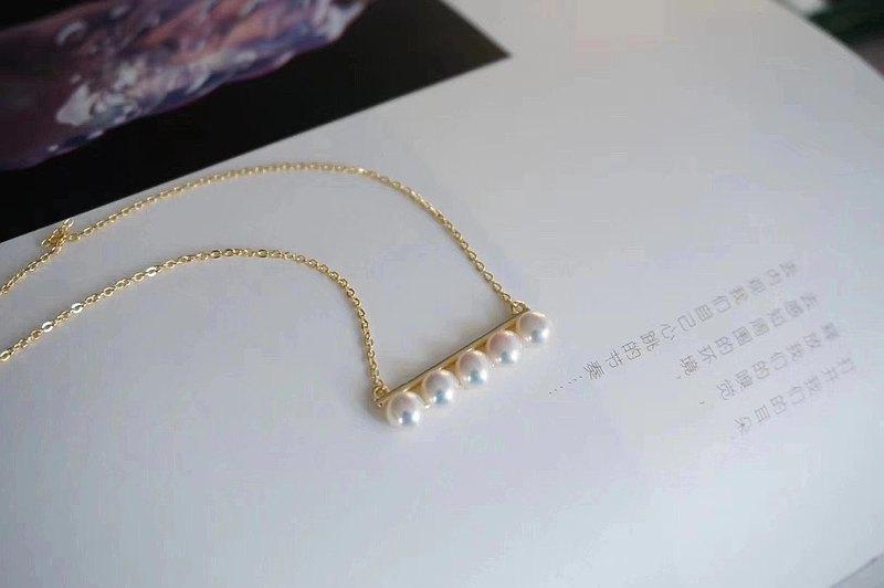 平衡木~極光天然淡水珍珠 平衡排列  S925銀鍍金項鏈