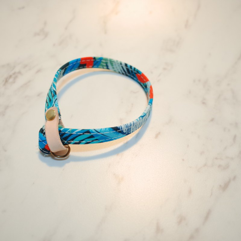 Cat collar my subtropical blue with bells can add tag