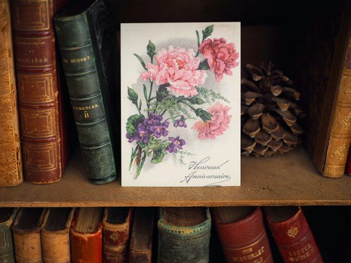 France nearly 100 years engraved version of flowers postcards