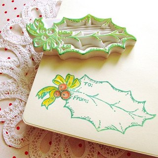 Apu handmade rubber stamps practical Christmas leaf tag seal