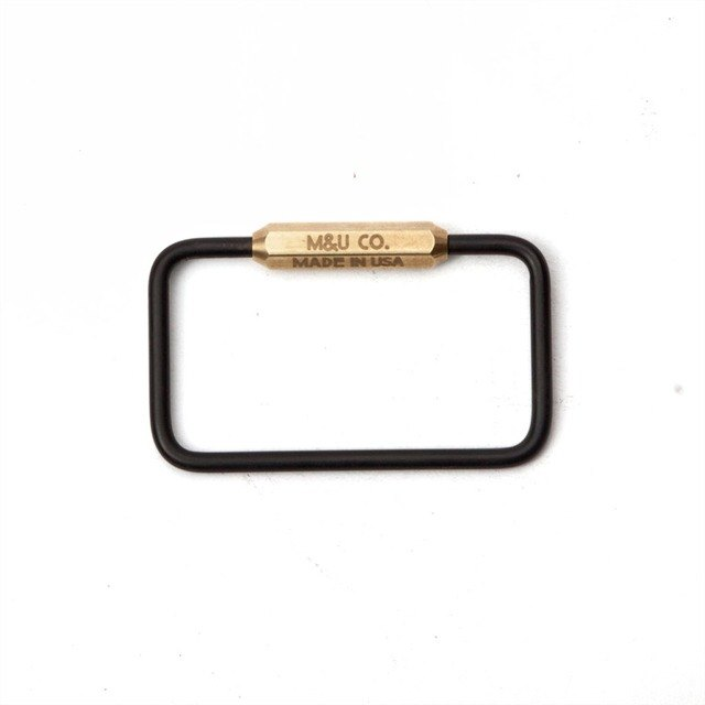 American M&U Manual Square Black Brass Keyring
