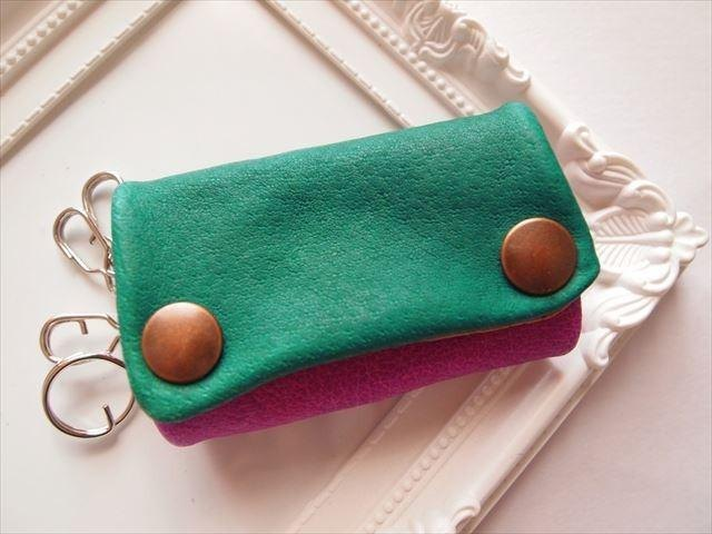 [Pig leather soft key case multi-color leather 15280020