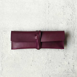 Grape purple leather Pencil Case/Pen Pouch