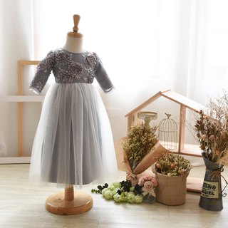 Lace hand-made flower girl dress ash